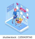isometric buying food online  e ... | Shutterstock .eps vector #1350439760