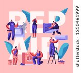 character making repair banner. ...   Shutterstock .eps vector #1350461999
