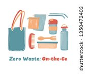 zero waste objects  on the go... | Shutterstock .eps vector #1350472403