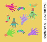 pattern of mittens  socks with  ... | Shutterstock . vector #1350486593