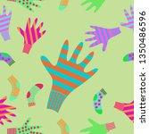 seamless pattern of mittens ... | Shutterstock . vector #1350486596