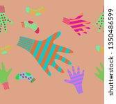 horizontal pattern of mittens ... | Shutterstock . vector #1350486599