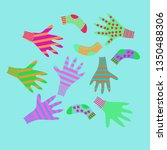 pattern of mittens  socks with  ... | Shutterstock . vector #1350488306