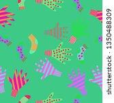 seamless pattern of mittens ... | Shutterstock . vector #1350488309