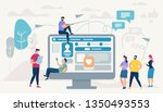 little people characters using... | Shutterstock .eps vector #1350493553
