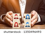 businessman collects puzzles... | Shutterstock . vector #1350496493