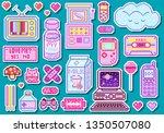 pixel art 8 bit objects. pink...   Shutterstock .eps vector #1350507080