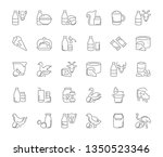 collection of line gray icons... | Shutterstock . vector #1350523346