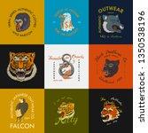 wild vintage animals. logo for... | Shutterstock .eps vector #1350538196