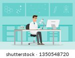 medical concept. scientists man ... | Shutterstock .eps vector #1350548720