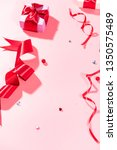 red ribbons and decorative beads | Shutterstock . vector #1350575489