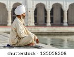 sikh in a obliteration prayer... | Shutterstock . vector #135058208