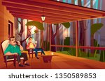 father and son resting on... | Shutterstock .eps vector #1350589853