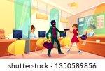 bank robbery cartoon vector... | Shutterstock .eps vector #1350589856