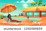 leisure on tropical resort... | Shutterstock .eps vector #1350589859