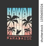 hawaii surfing print for t... | Shutterstock .eps vector #1350600326