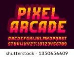 pixel arcade alphabet font. 3d...   Shutterstock .eps vector #1350656609