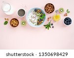 homemade granola with milk and... | Shutterstock . vector #1350698429