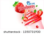 3d soft ice cream with... | Shutterstock .eps vector #1350731930