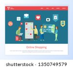 online shopping people with... | Shutterstock .eps vector #1350749579