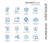 security flat line icons. set...