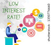 text sign showing low interest...   Shutterstock . vector #1350776660