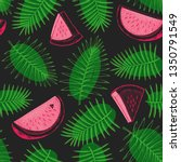 watermelon and tropical leaves... | Shutterstock .eps vector #1350791549