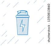 blue fitness shaker line icon... | Shutterstock .eps vector #1350813860