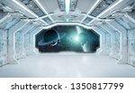 White Blue Spaceship Futuristi...