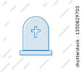 blue tombstone with cross line... | Shutterstock .eps vector #1350829703