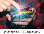 a woman with a smartphone  a...   Shutterstock . vector #1350850049