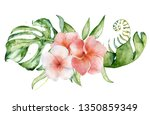 tropical watercolor flowers and ... | Shutterstock . vector #1350859349