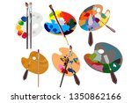 set.wooden palette for oil...   Shutterstock .eps vector #1350862166
