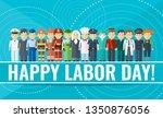 international labor day. happy... | Shutterstock .eps vector #1350876056