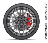 realistic wheel alloy with tire ... | Shutterstock .eps vector #1350920519