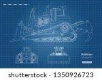 bulldozer in outline style.... | Shutterstock .eps vector #1350926723