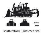 black silhouette of bulldozer.... | Shutterstock .eps vector #1350926726