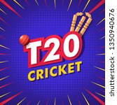 t20 concept with stumps  ball... | Shutterstock .eps vector #1350940676