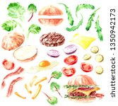 hand drawn watercolor fast food ... | Shutterstock . vector #1350942173