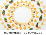 top view of tasty nachos and...   Shutterstock . vector #1350946286