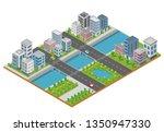 isometric city building vector... | Shutterstock .eps vector #1350947330