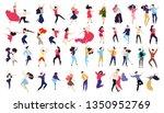 crowd of young people dancing... | Shutterstock .eps vector #1350952769