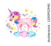 watercolor cute magic pink... | Shutterstock . vector #1350952940