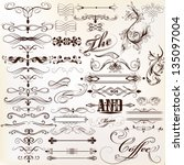 vector set of calligraphic... | Shutterstock .eps vector #135097004