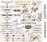 Stock vector vector set of calligraphic elements for design calligraphic vector 135097004
