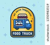 food truck service badge banner.... | Shutterstock .eps vector #1350983519