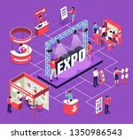 isometric expo flowchart... | Shutterstock .eps vector #1350986543