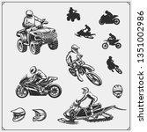 set of motor sport  snowmobile  ... | Shutterstock .eps vector #1351002986