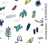 hand drawing summer icons... | Shutterstock .eps vector #1351004423