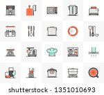 flat line icons set of cookware ... | Shutterstock .eps vector #1351010693